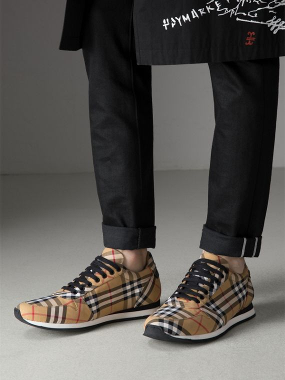 Vintage Check Cotton Trainers in Antique Yellow - Men | Burberry - cell image 2