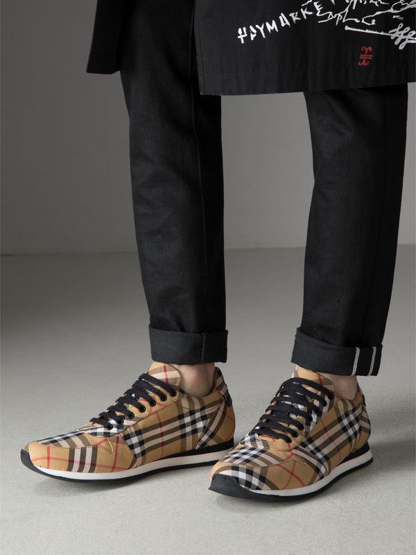 Vintage Check Cotton Trainers in Antique Yellow - Men | Burberry Hong Kong - cell image 2