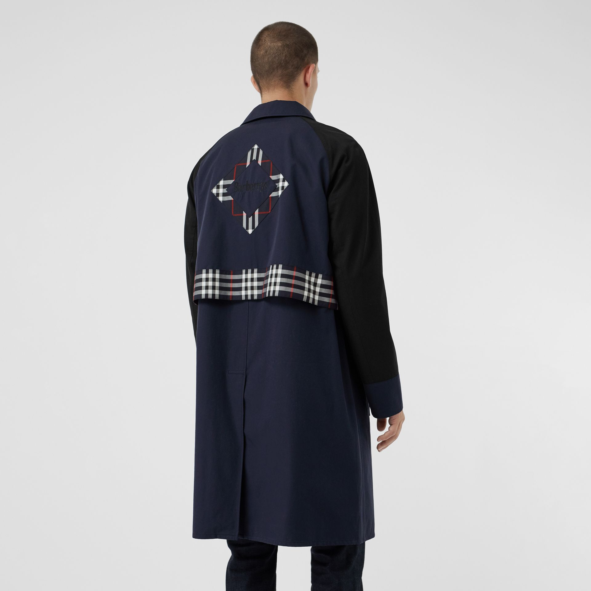 Check Detail Tropical Gabardine Car Coat in Midnight Blue - Men | Burberry - gallery image 2