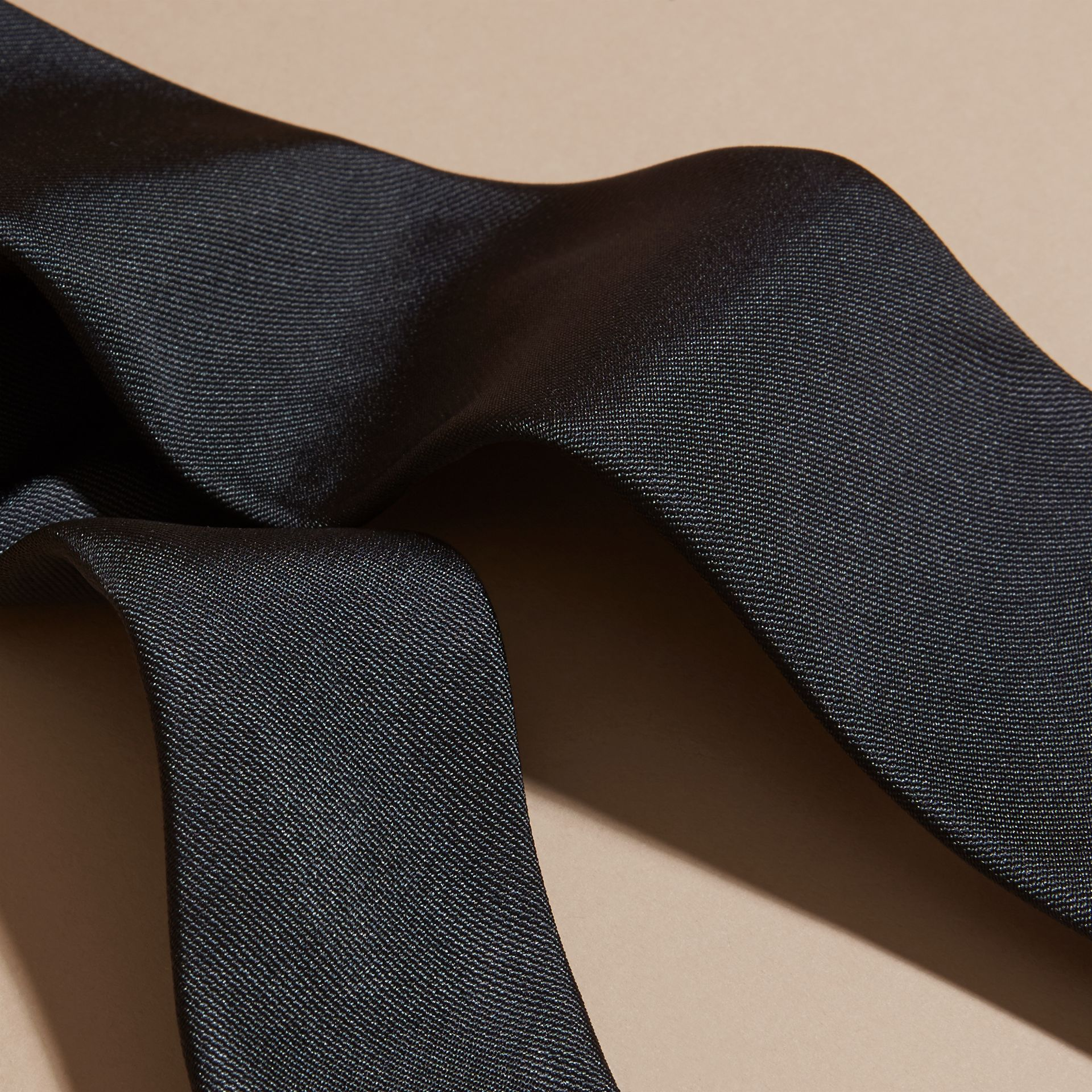Black Modern Cut Silk Twill Tie Black - gallery image 2