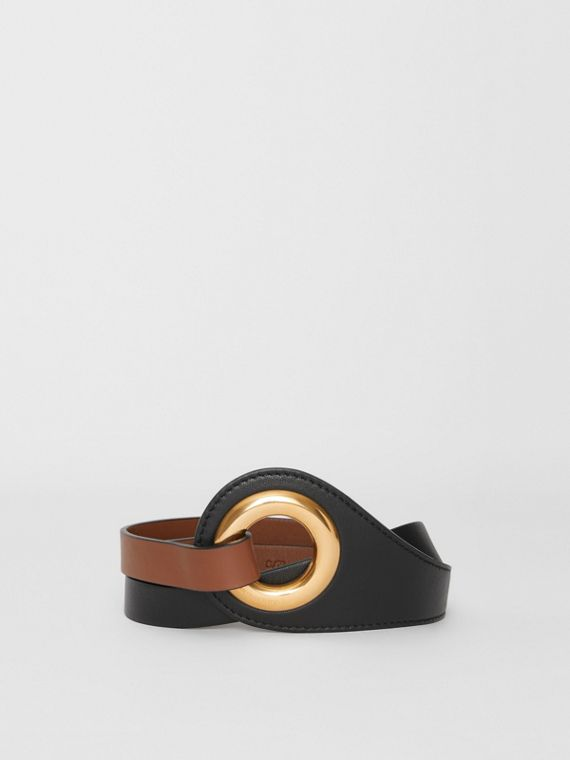 Grommet Detail Lambskin Waist Belt in Tan/black