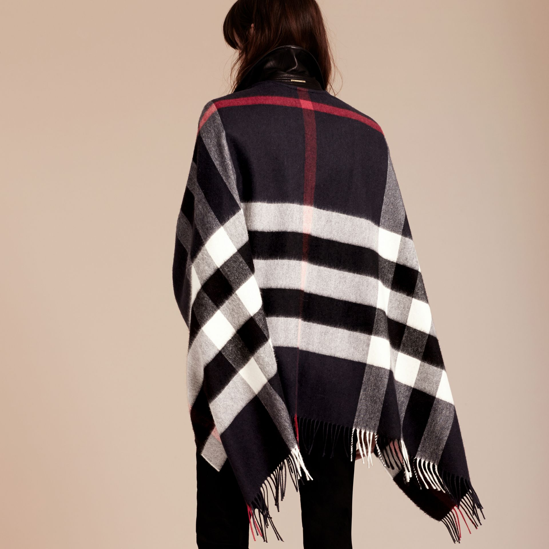 Navy Check Cashmere and Wool Poncho Navy - gallery image 3