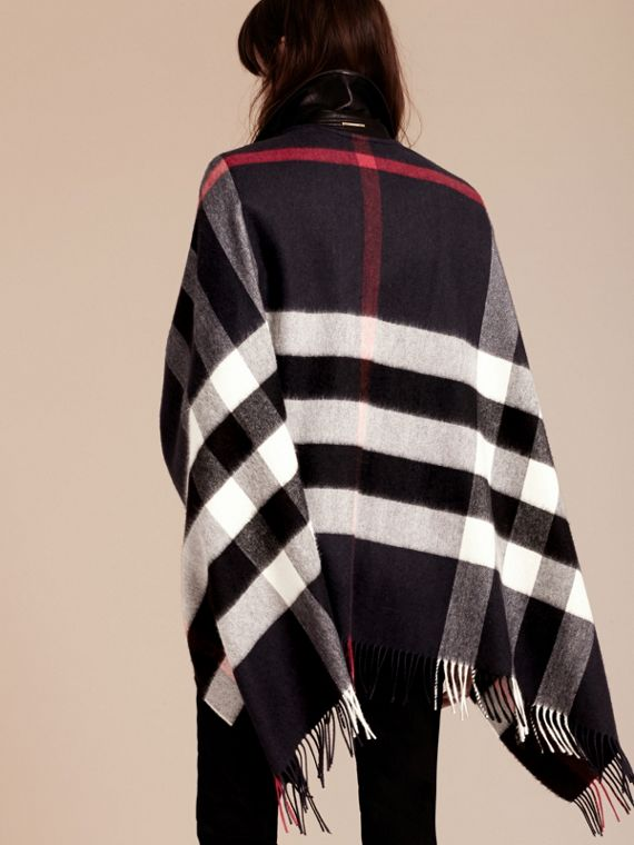 Navy Check Cashmere and Wool Poncho Navy - cell image 2