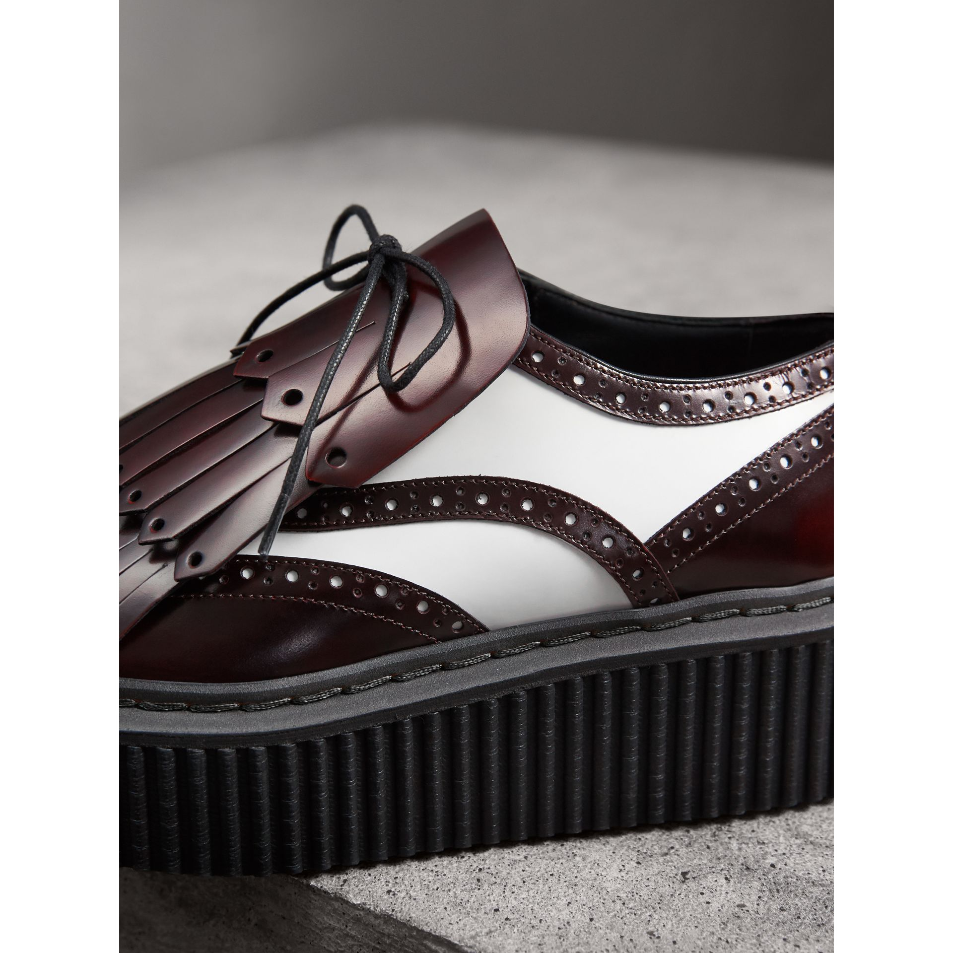 Two-tone Lace-up Kiltie Fringe Leather Shoes in Bordeaux - Women | Burberry - gallery image 1