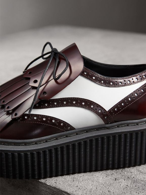 Two-tone Lace-up Kiltie Fringe Leather Shoes in Bordeaux - Women | Burberry - cell image 1