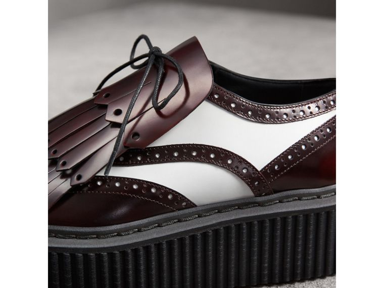 Two-tone Lace-up Kiltie Fringe Leather Shoes in Bordeaux - Women | Burberry United Kingdom - cell image 1