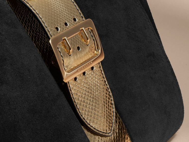 The Medium Buckle Tote in Suede and Snakeskin in Black/gold - Women | Burberry Australia - cell image 1