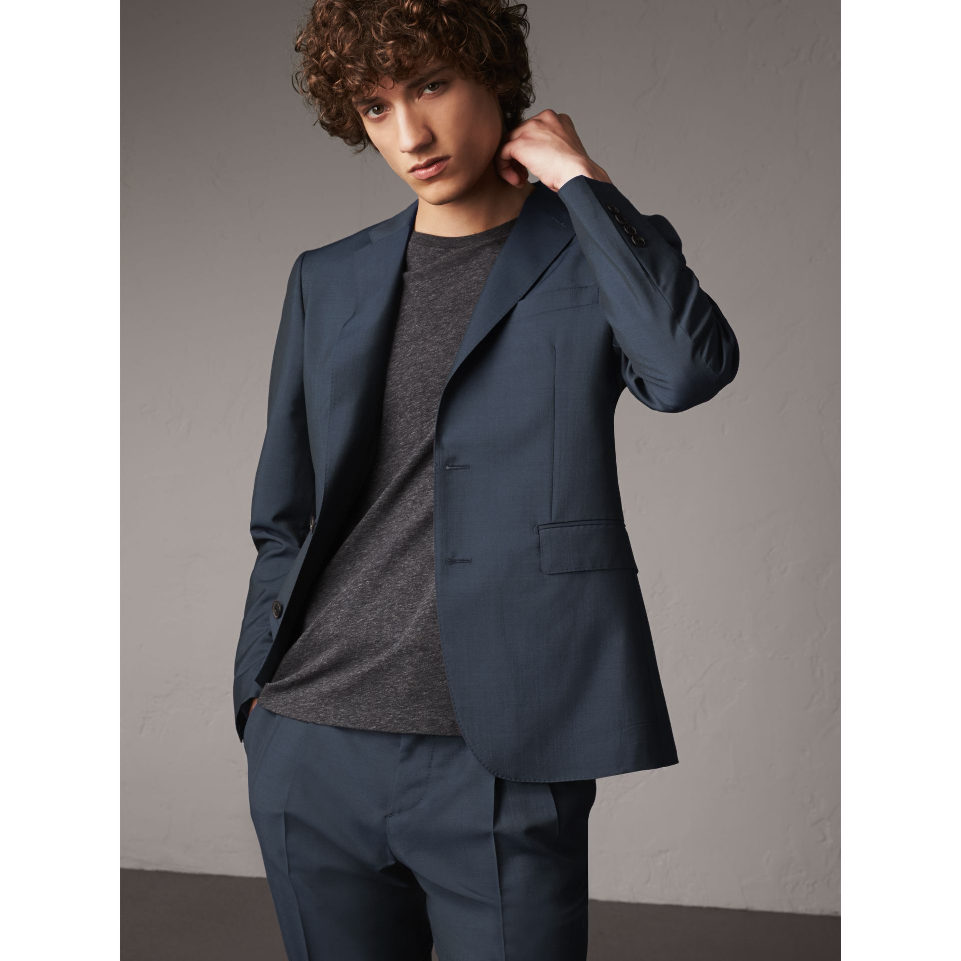 Soho Fit Wool Mohair Suit in Petrol Blue - Men | Burberry - gallery image 7