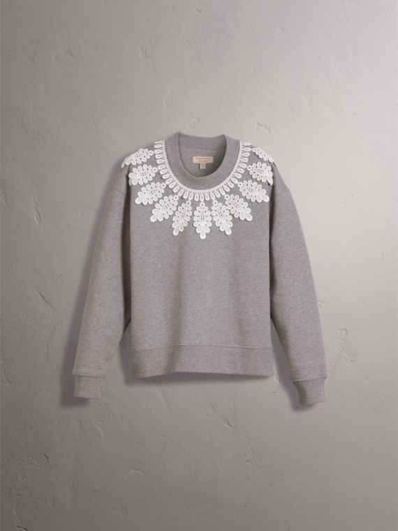 Lace Appliqué Jersey Sweatshirt in Grey Melange - Women | Burberry United Kingdom - cell image 3