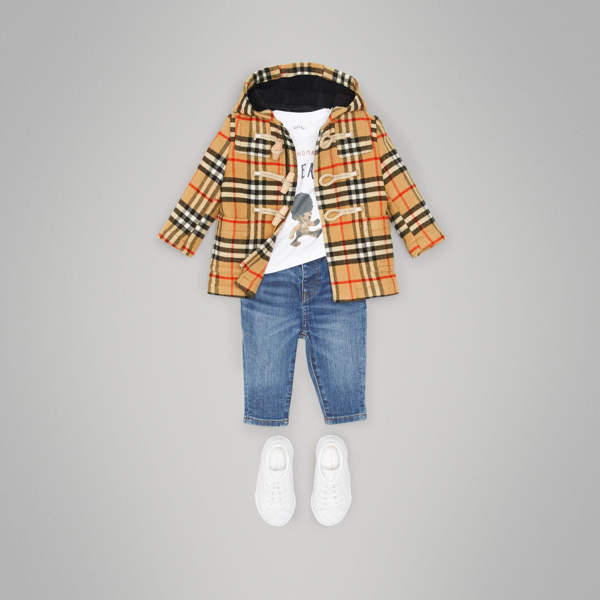Vintage Check Wool Duffle Coat in Black - Children | Burberry - gallery image 2