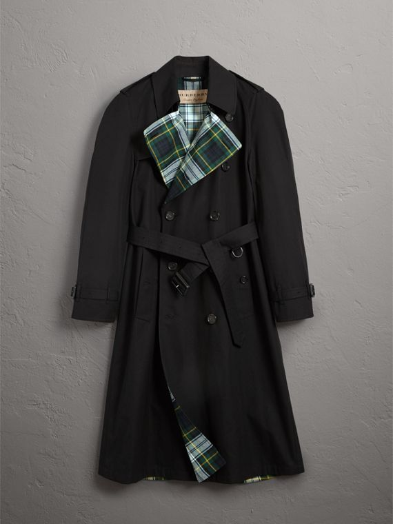 Tartan-lined Cotton Gabardine Trench Coat in Black - Men | Burberry - cell image 3