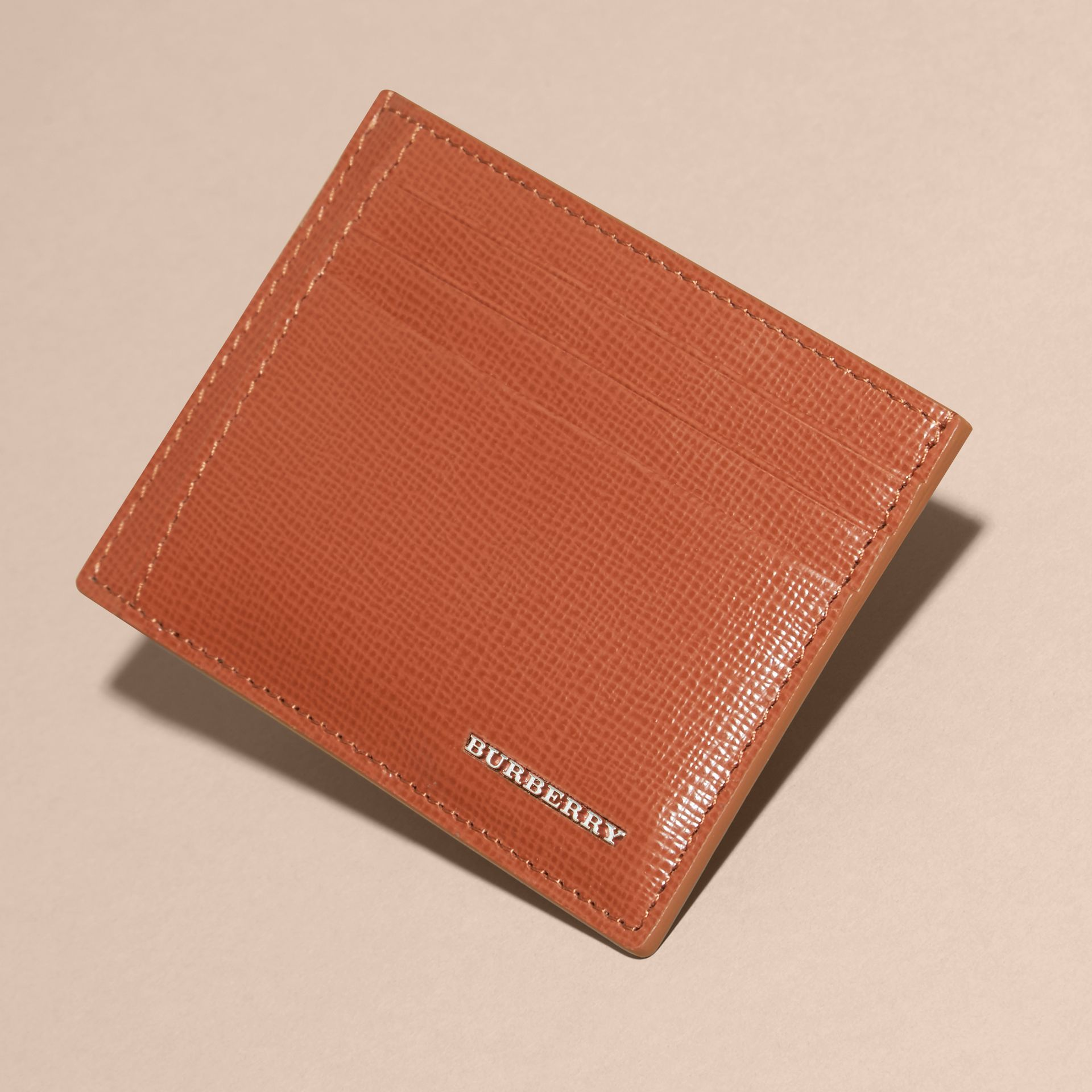 London Leather Money Clip Card Case in Burnt Sienna - gallery image 3