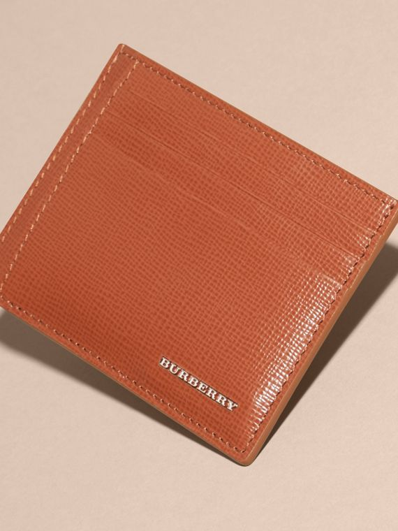 London Leather Money Clip Card Case in Burnt Sienna - cell image 2