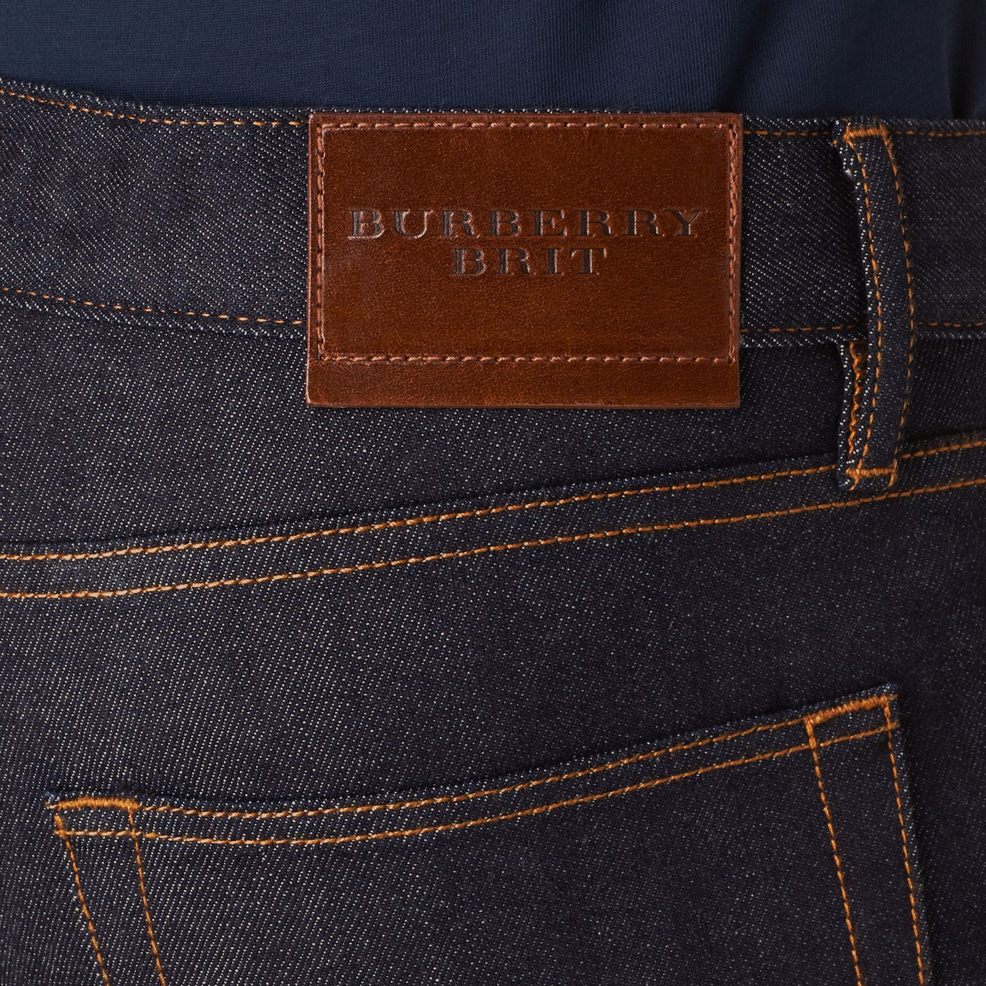 Dark indigo Slim Fit Stretch Japanese Selvedge Jeans - gallery image 2