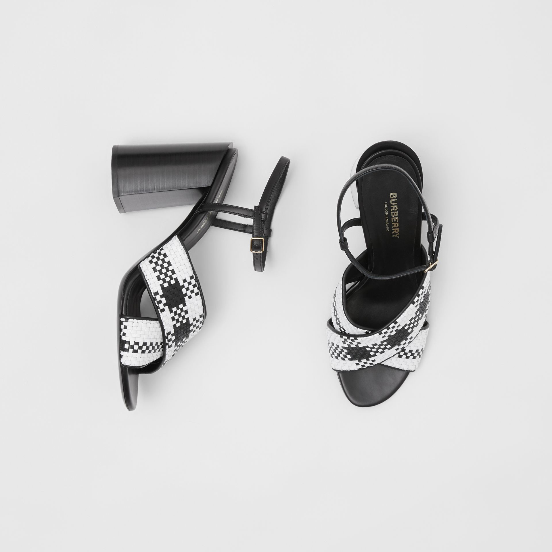Latticed Leather Block-heel Sandals in Black/white - Women | Burberry Hong Kong S.A.R - gallery image 0