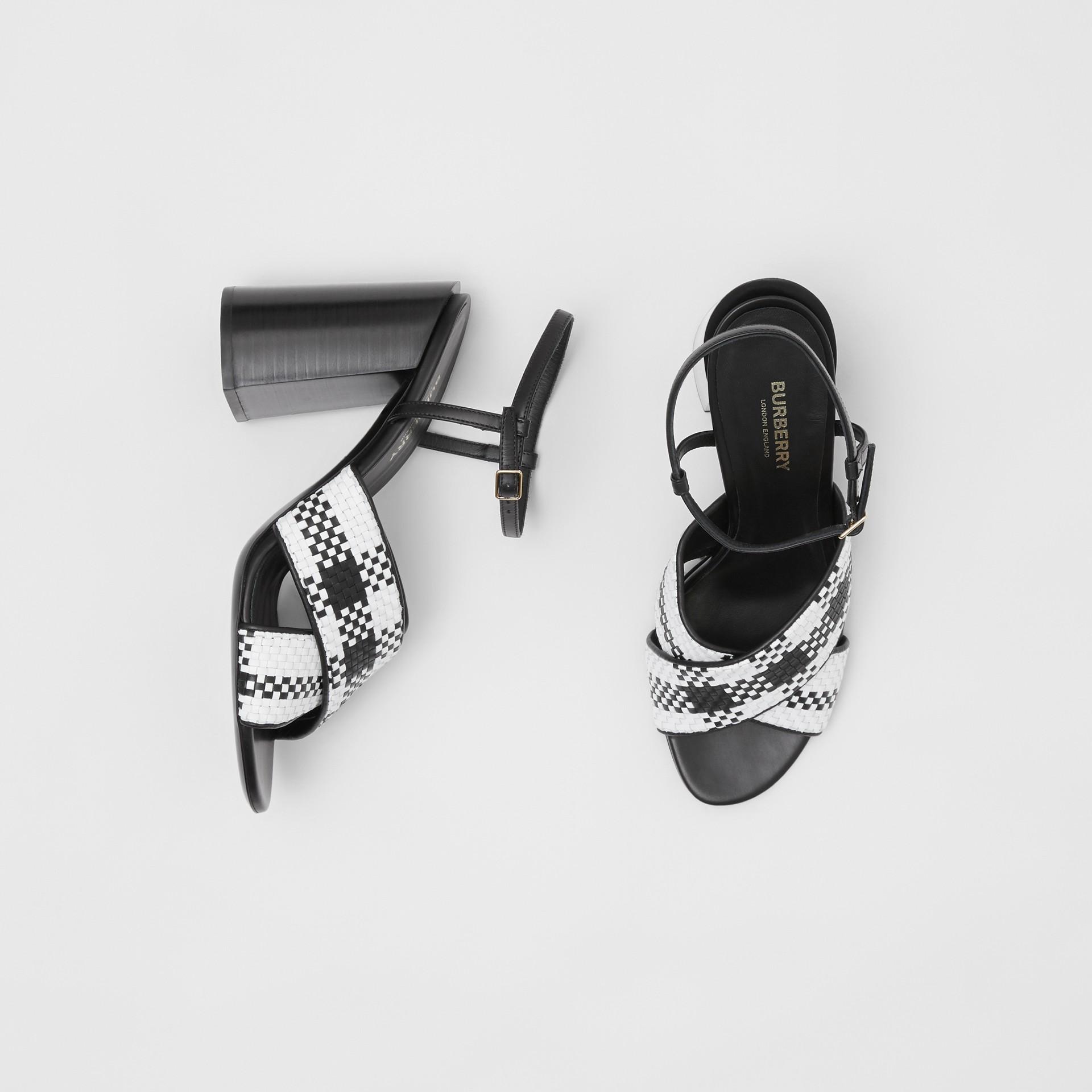 Latticed Leather Block-heel Sandals in Black/white - Women | Burberry - gallery image 0