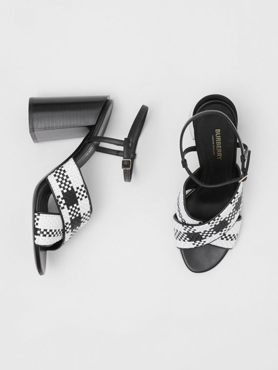 Latticed Leather Block-heel Sandals in Black/white