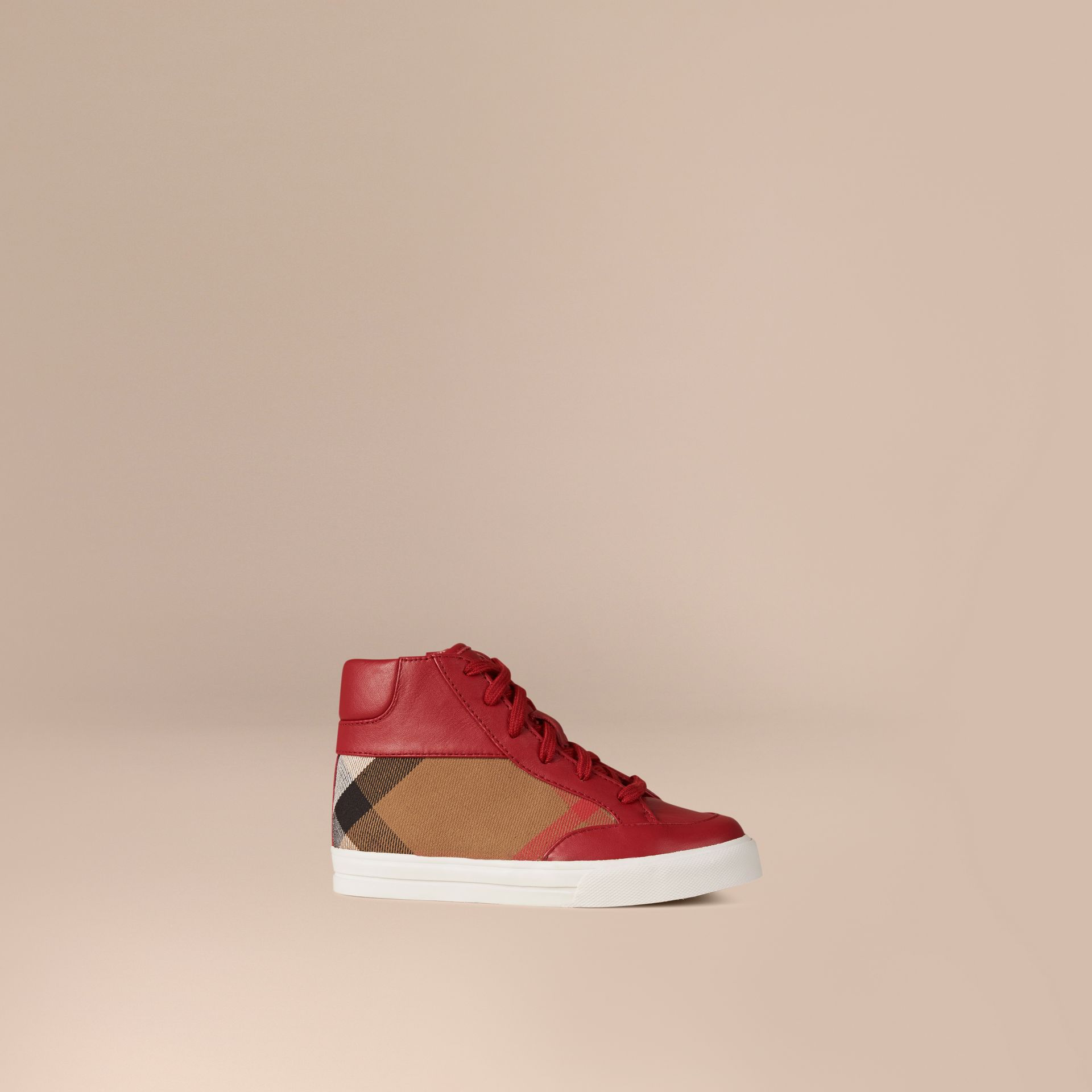 House Check and Leather High Top Trainers in Parade Red | Burberry - gallery image 1