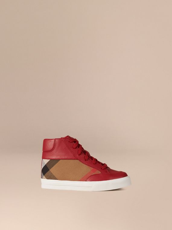 House Check and Leather High Top Trainers in Parade Red
