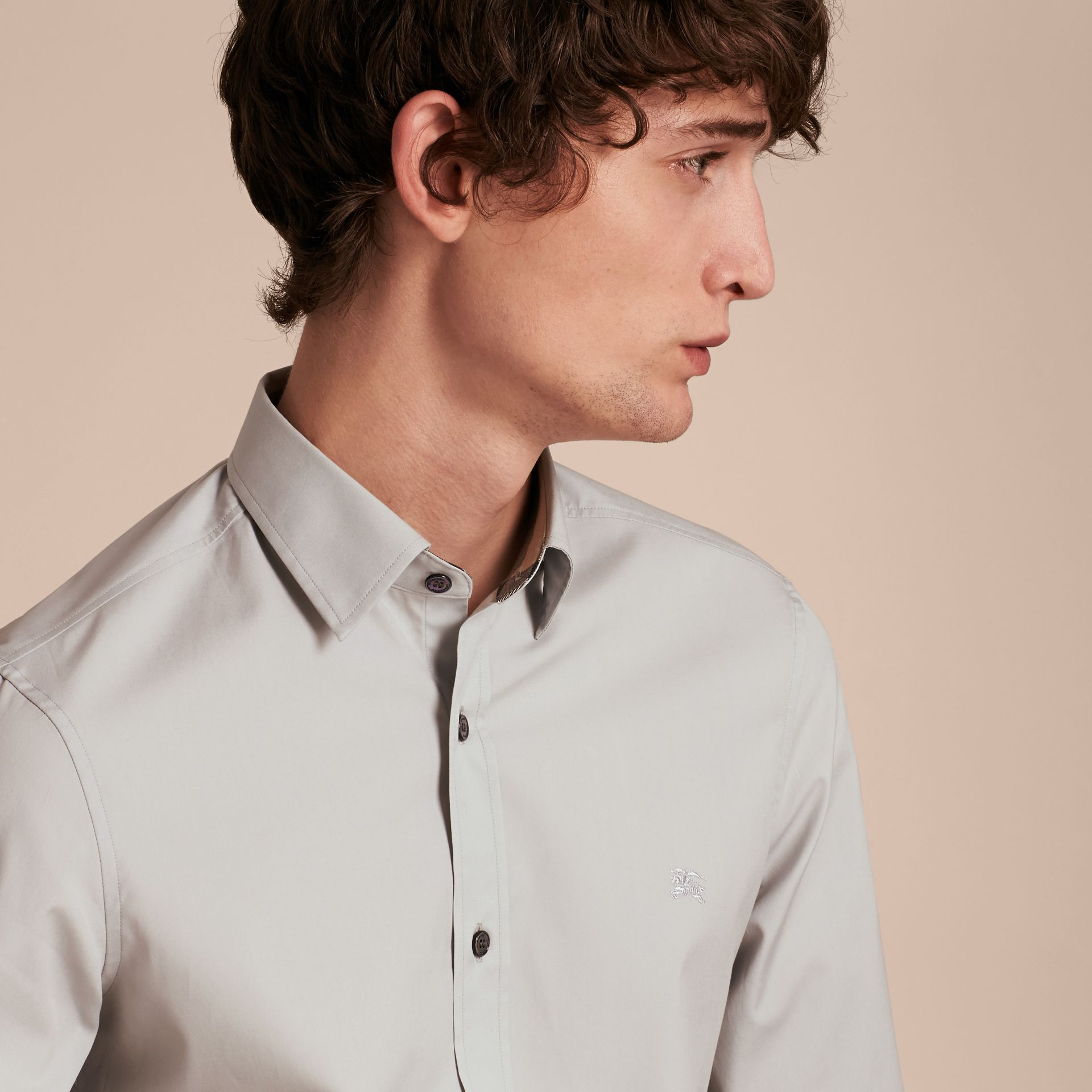 Check Detail Stretch Cotton Poplin Shirt Pale Grey - gallery image 5