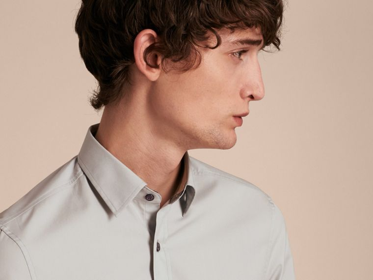 Check Detail Stretch Cotton Poplin Shirt in Pale Grey - Men | Burberry - cell image 4