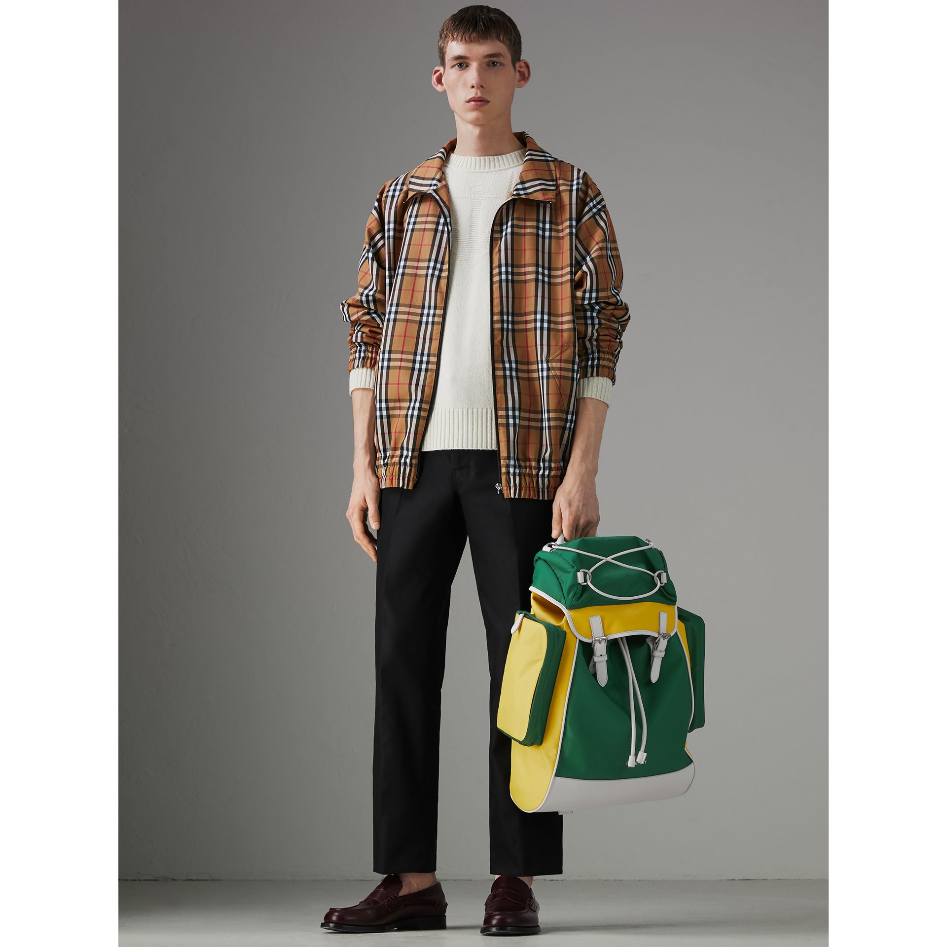 Tri-tone Nylon and Leather Backpack in Pine Green - Men | Burberry - gallery image 2