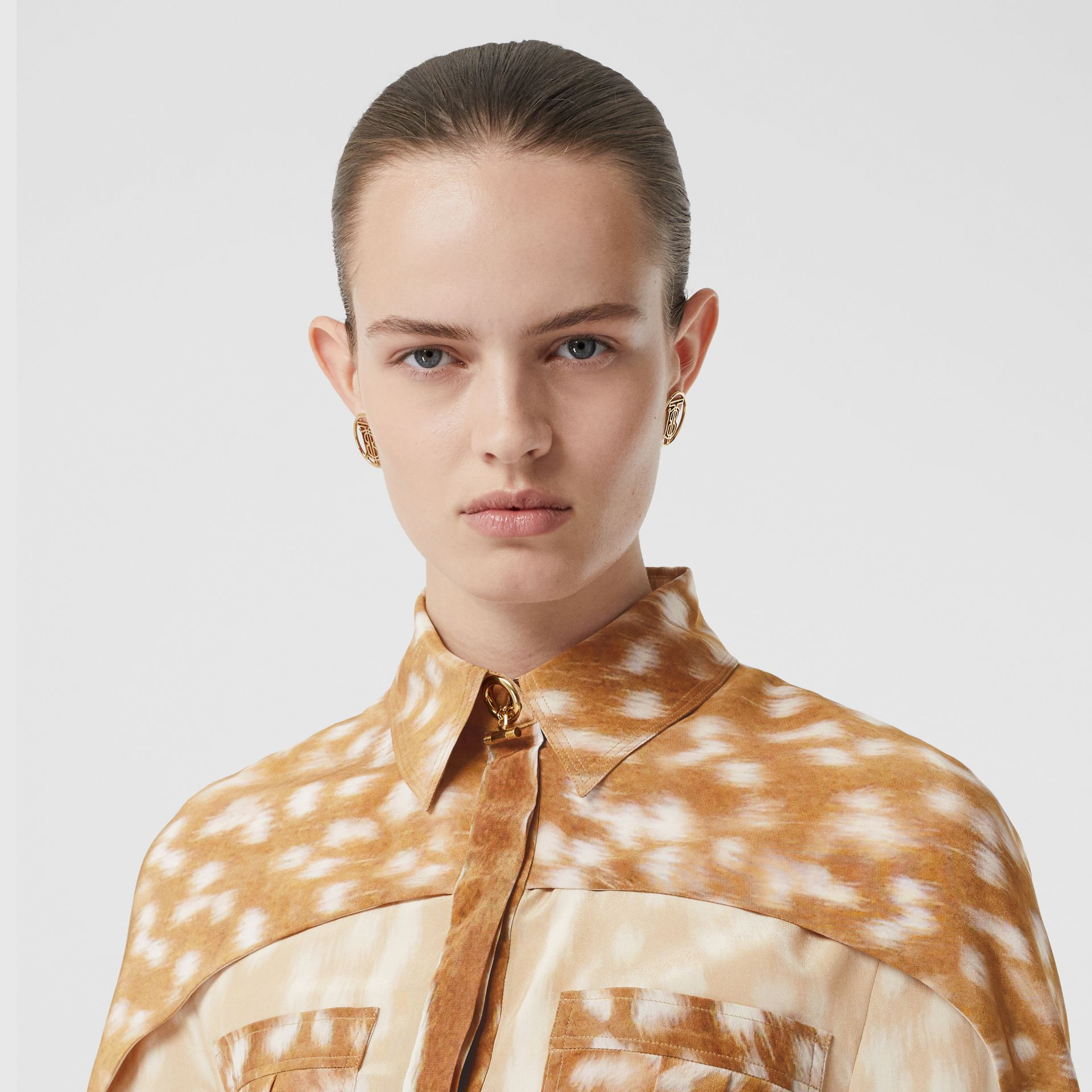 Cape Sleeve Deer Print Silk Shirt in Soft Fawn - Women | Burberry - gallery image 1