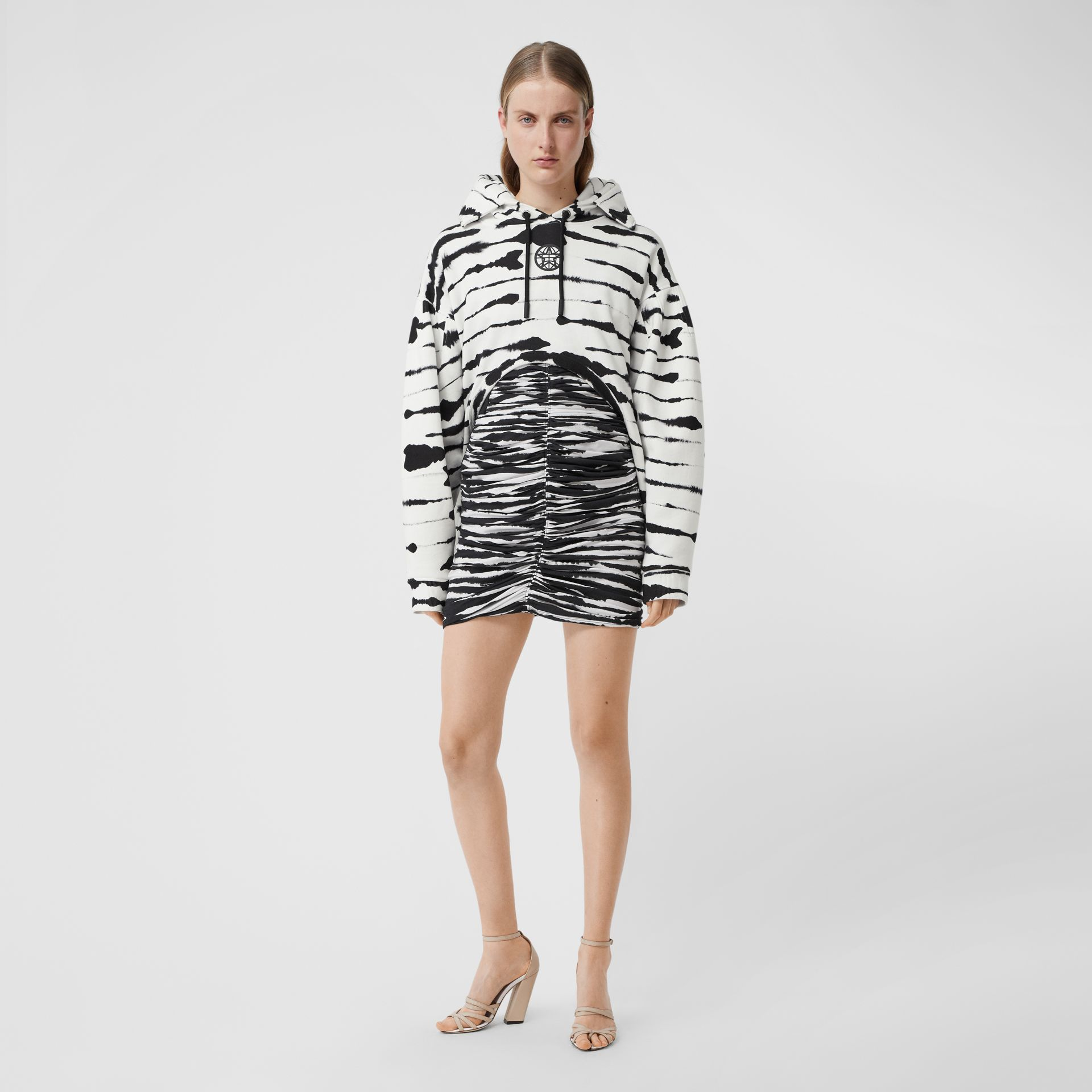Cut-out Detail Watercolour Print Cotton Hoodie in White/black - Women | Burberry - gallery image 0