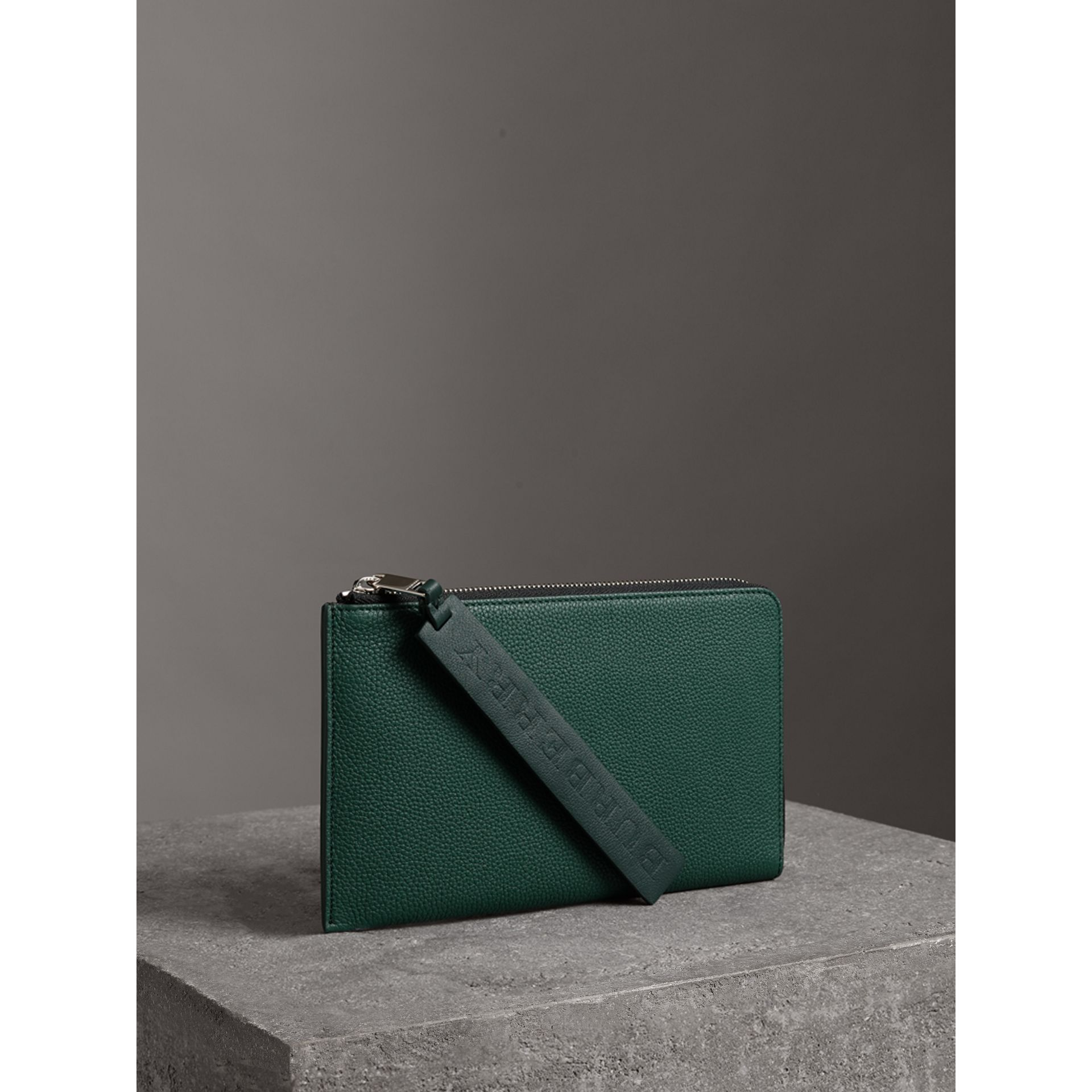 Two-tone Grainy Leather Travel Wallet in Dark Cyan - Men | Burberry - gallery image 4