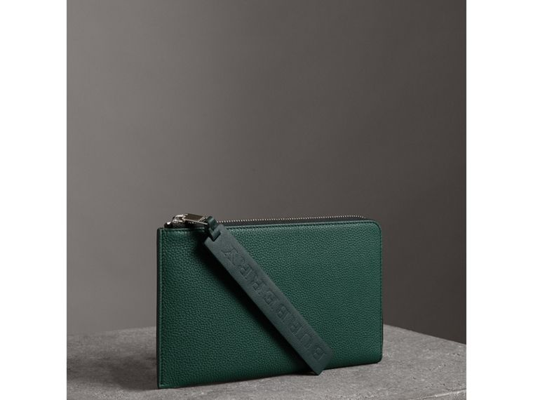 Two-tone Grainy Leather Travel Wallet in Dark Cyan - Men | Burberry - cell image 4