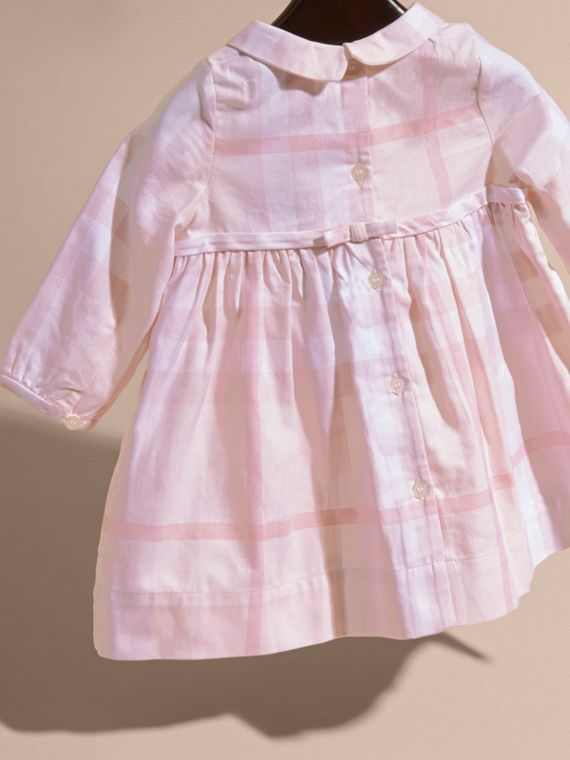 Ice pink Long-sleeved Pintuck Detail Washed Check Cotton Dress Ice Pink - cell image 3
