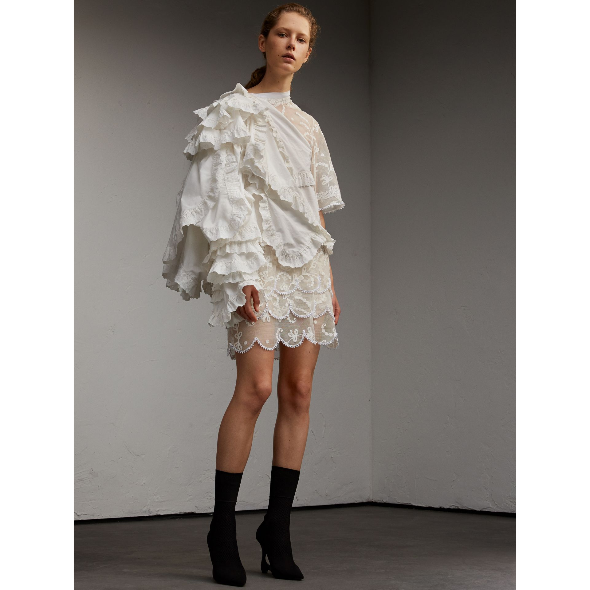 Broderie Anglaise Ruffle Cotton and Lace Dress - gallery image 6