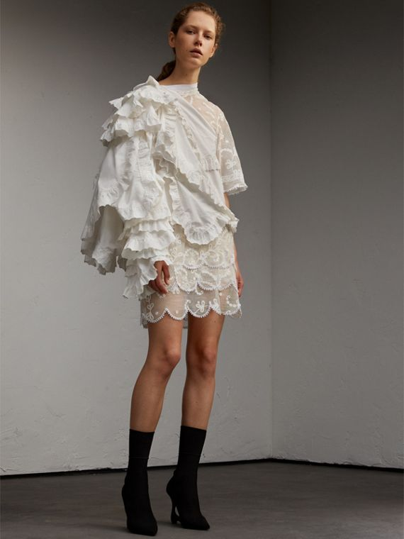 Cotton and Lace Dress with Broderie Anglaise Ruffles