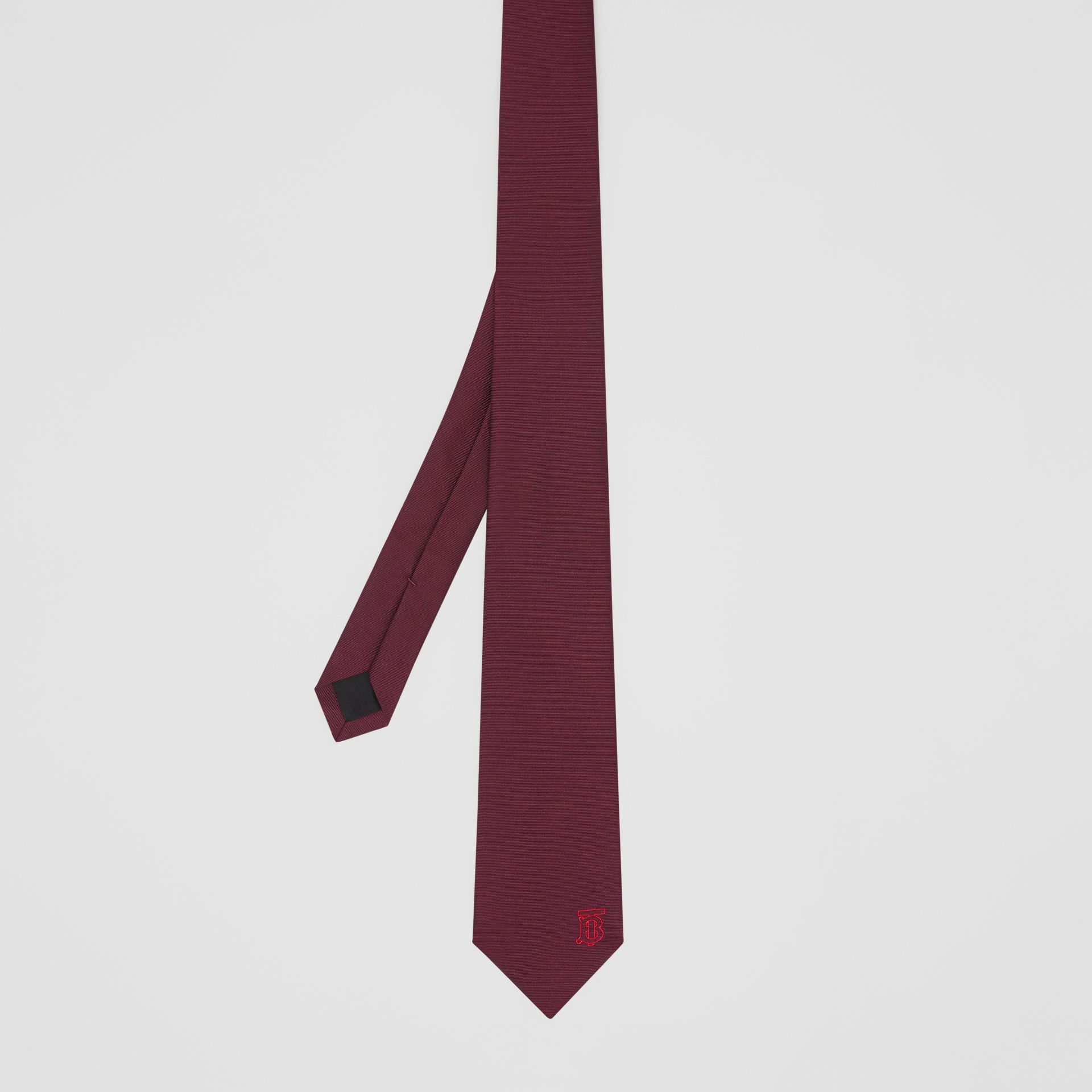 Classic Cut Monogram Motif Silk Tie in Deep Claret - Men | Burberry United Kingdom - gallery image 4