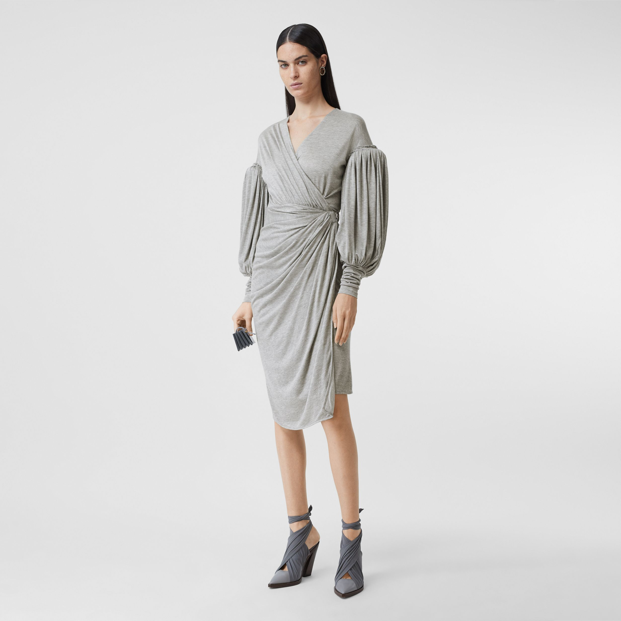 Puff-sleeve Jersey Wrap Dress in Pewter Melange - Women | Burberry - 1