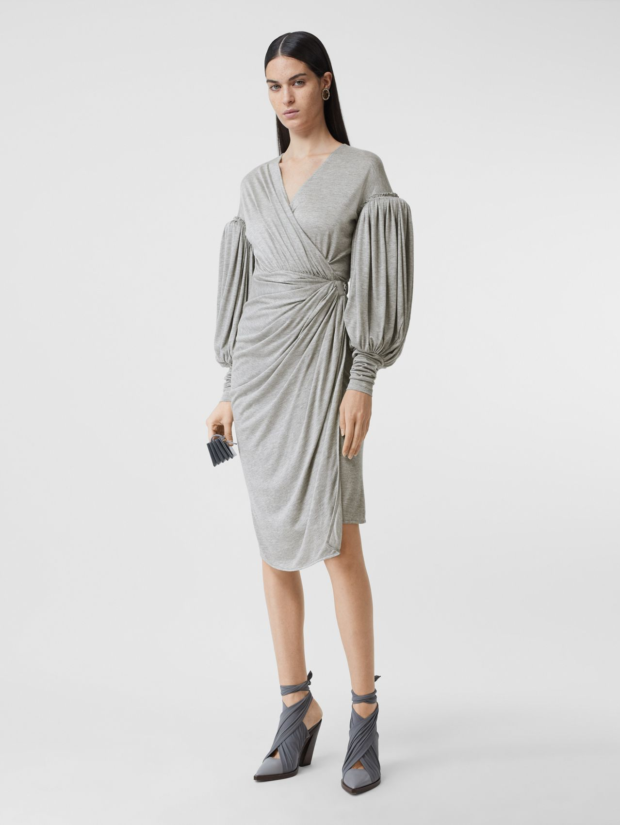 Puff-sleeve Jersey Wrap Dress in Pewter Melange
