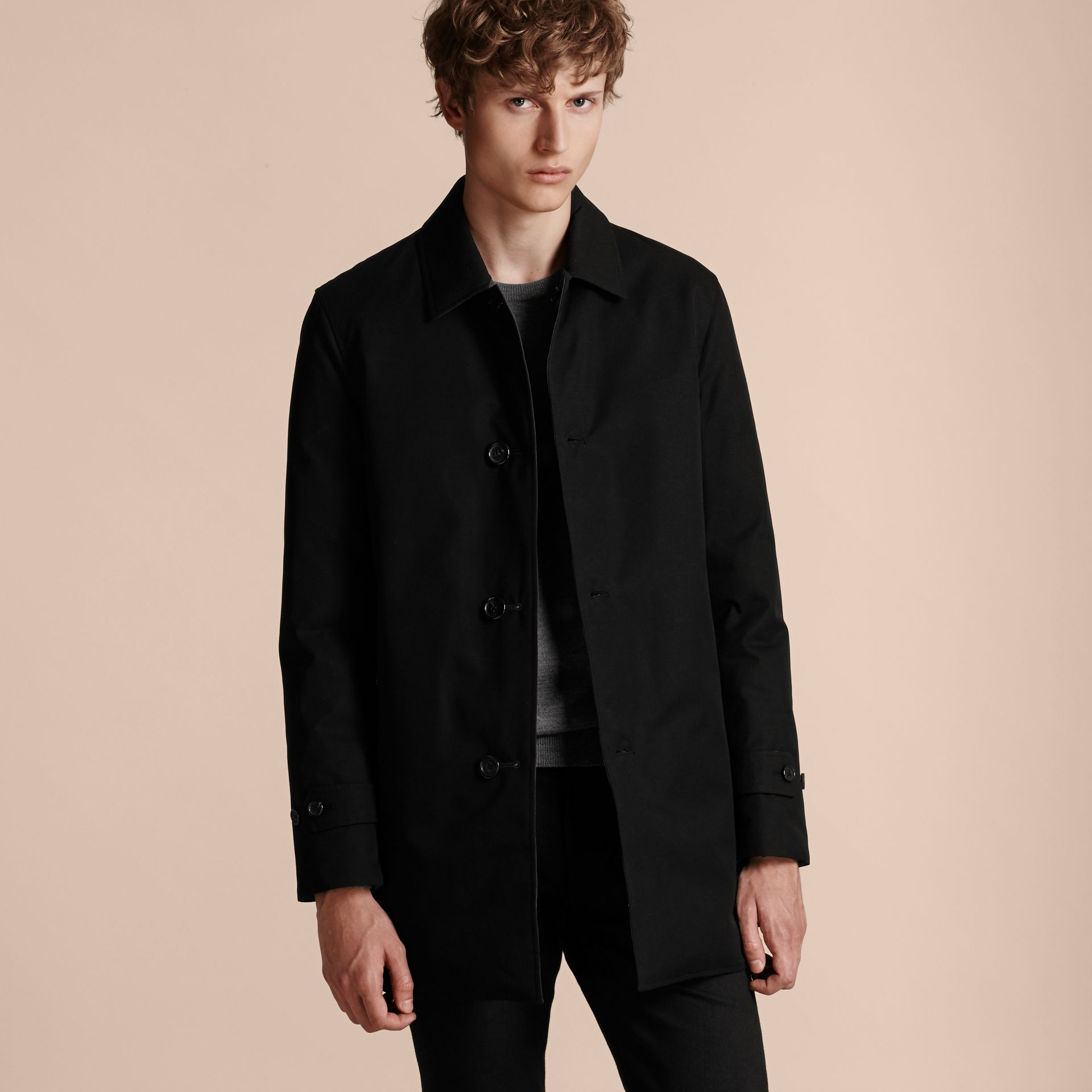 Black Reversible Down-filled Cotton Gabardine Car Coat - gallery image 7