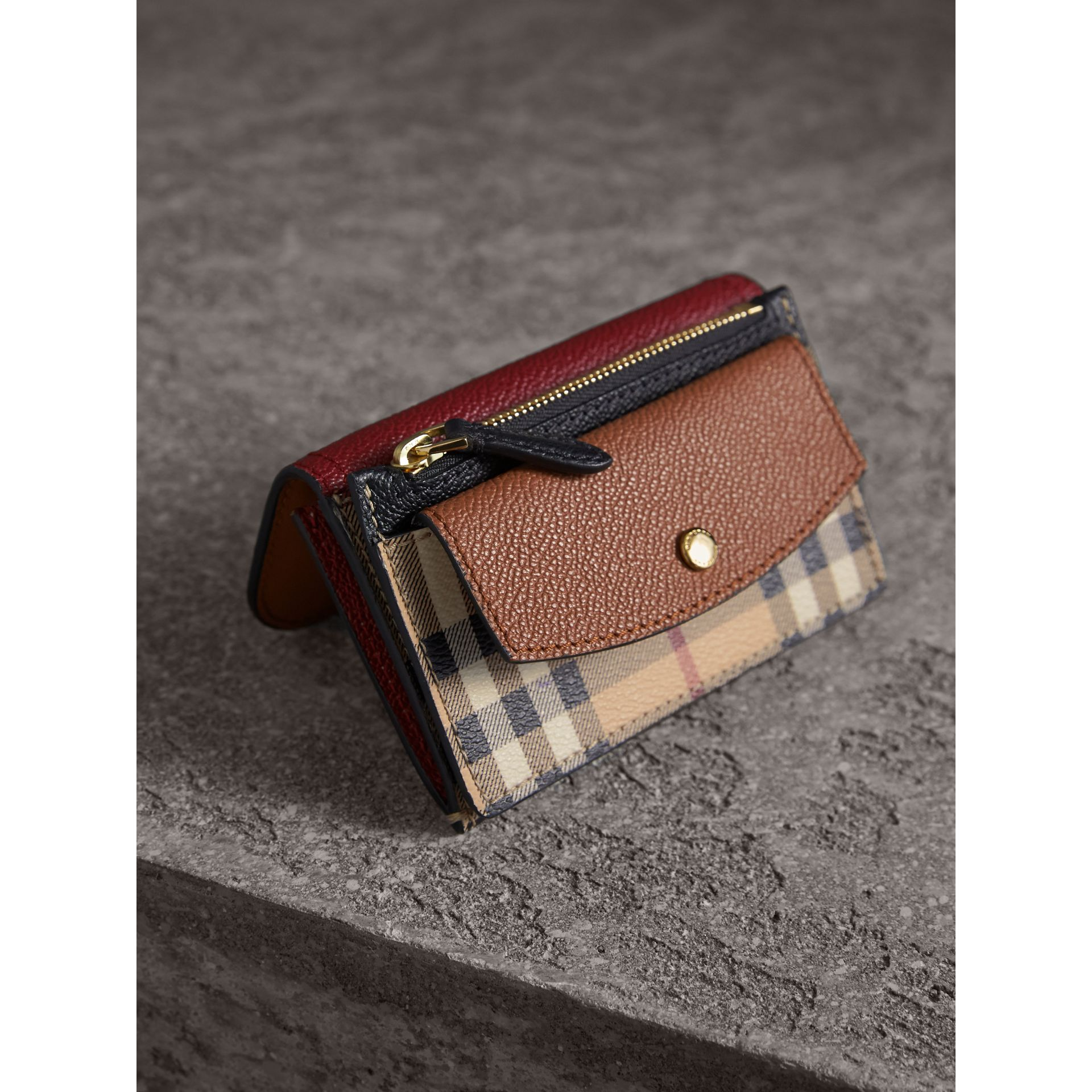 Leather and Haymarket Check Mini Wallet in Burgundy/multicolour | Burberry Australia - gallery image 2