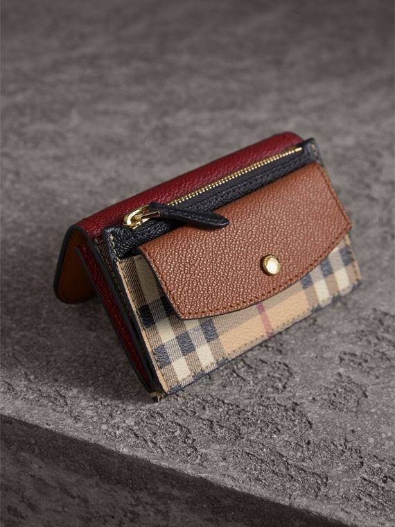 Leather and Haymarket Check Mini Wallet in Burgundy/multicolour | Burberry Australia - cell image 2