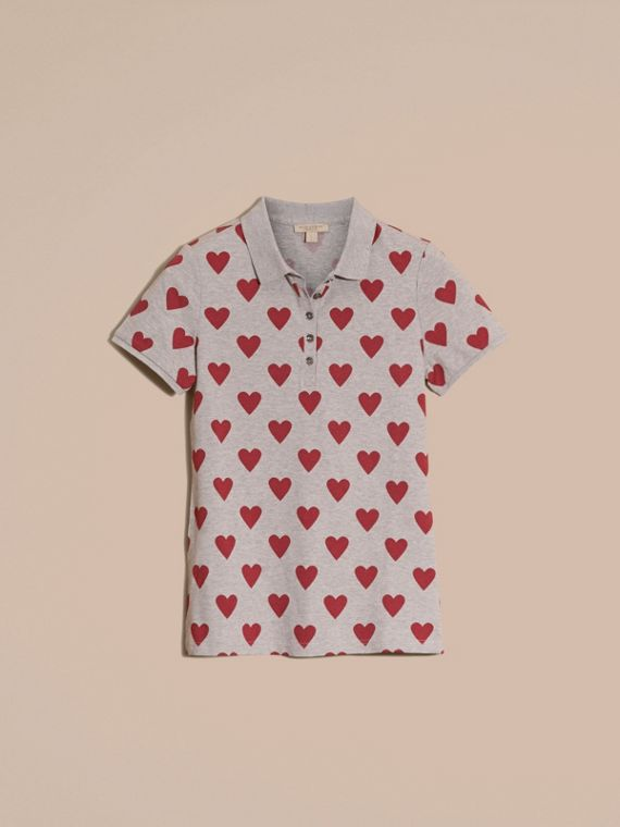 Parade red Heart Print Stretch Cotton Piqué Polo Shirt Parade Red - cell image 3
