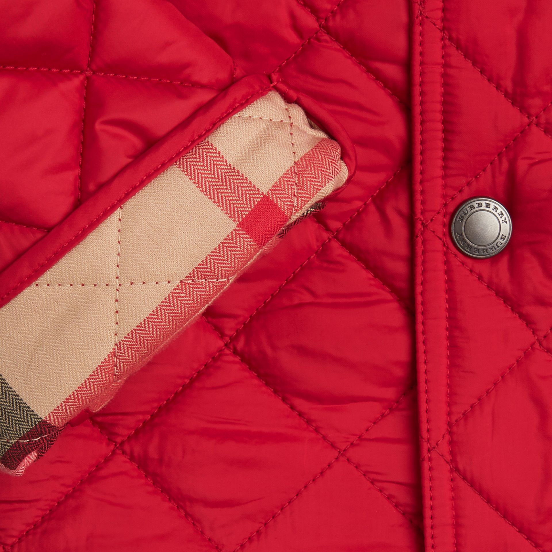 Diamond Quilted Jacket Bright Cherry Red - gallery image 2