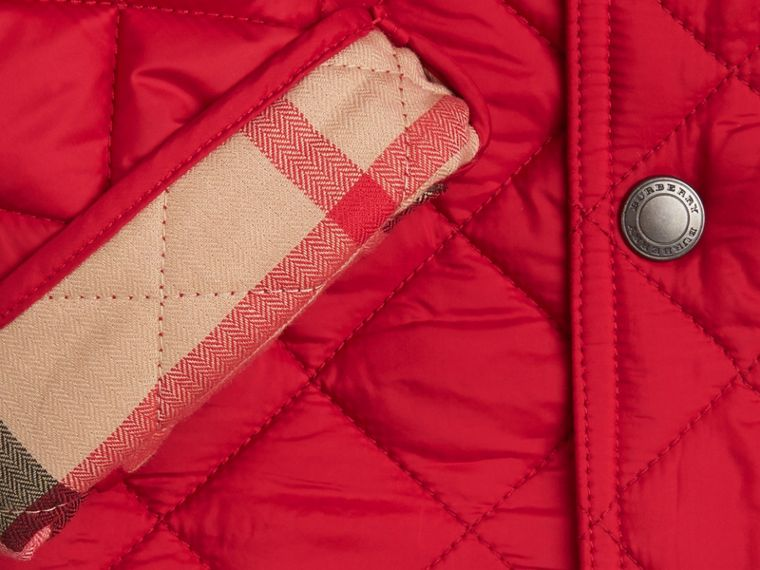 Diamond Quilted Jacket in Bright Cherry Red - cell image 1