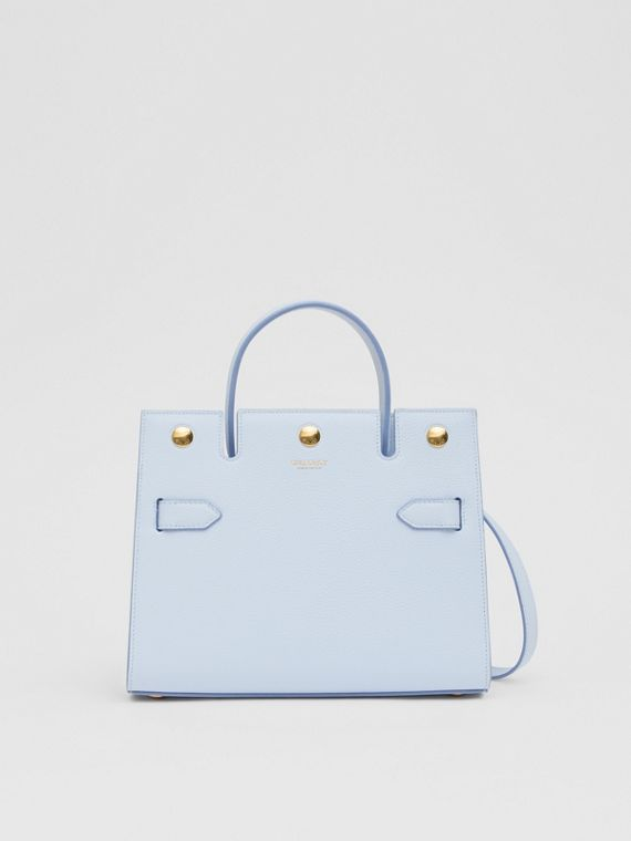Mini Leather Title Bag in Pale Blue