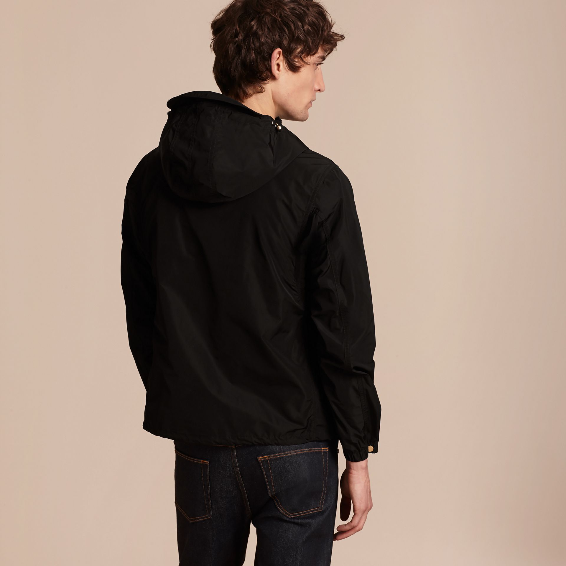 Black Hooded Lightweight Technical Jacket - gallery image 3