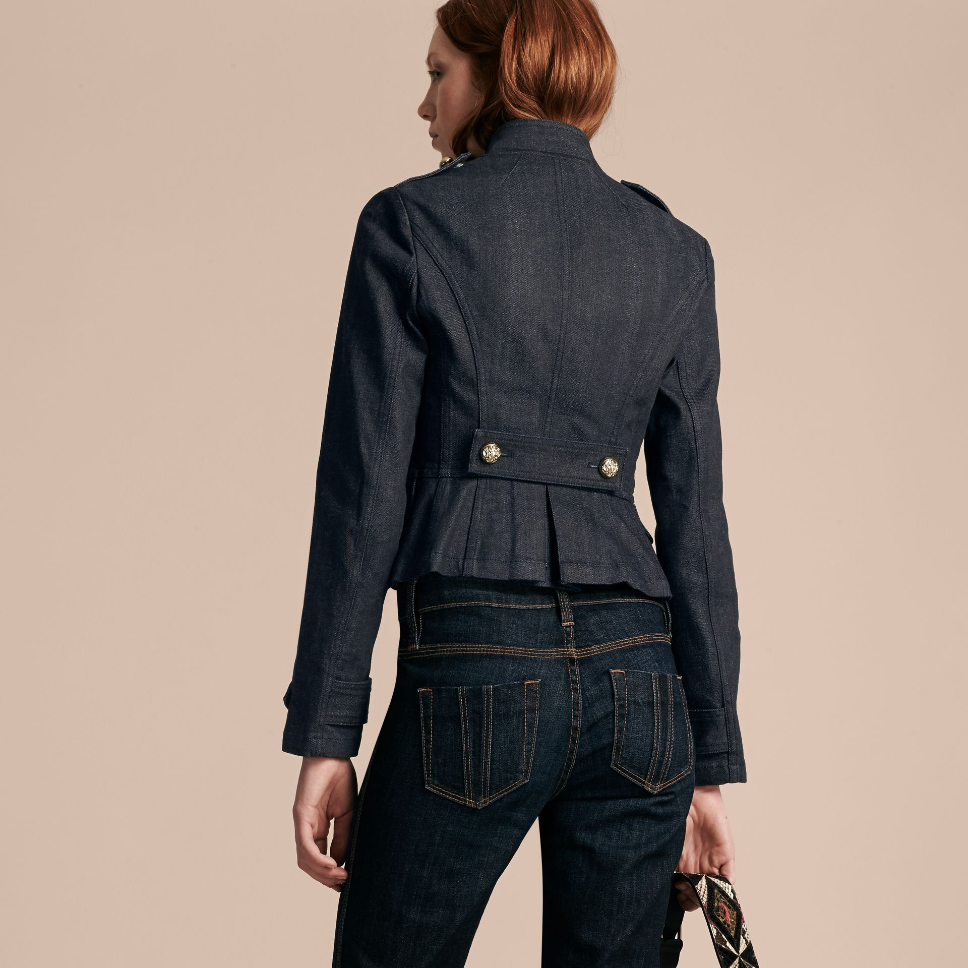 Indigo Stretch Denim Regimental Jacket - gallery image 3