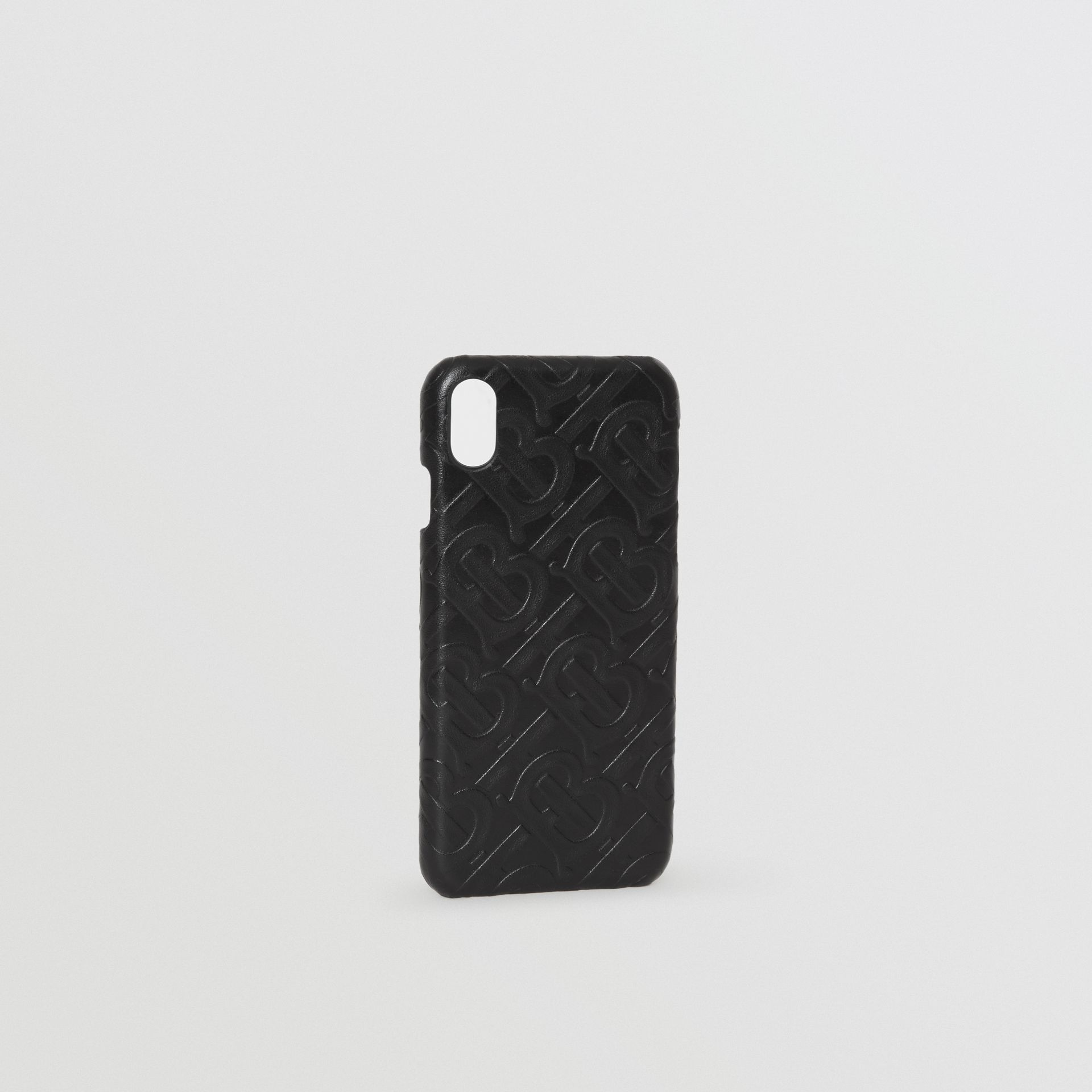 Coque pour iPhone X/XS en cuir Monogram (Noir) | Burberry - photo de la galerie 3
