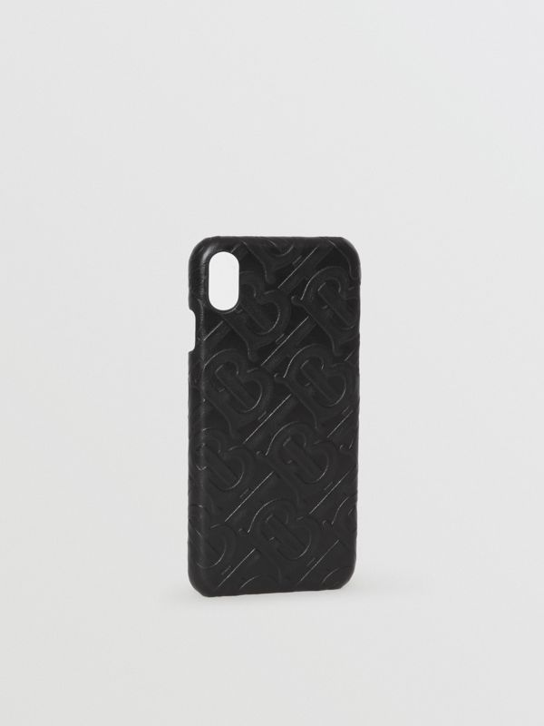 Coque pour iPhone X/XS en cuir Monogram (Noir) | Burberry - cell image 3