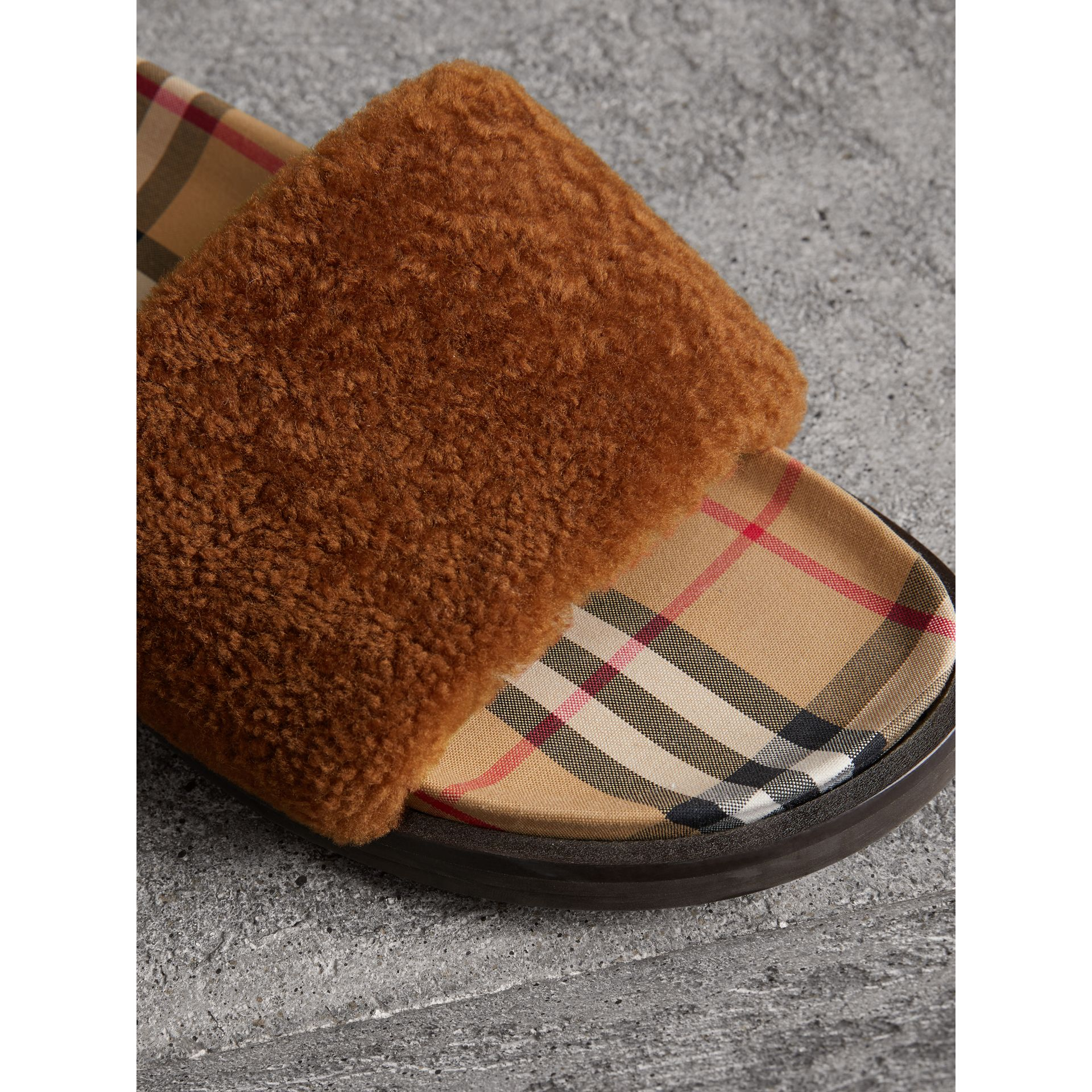 Shearling and Vintage Check Slides in Tan - Women | Burberry - gallery image 1