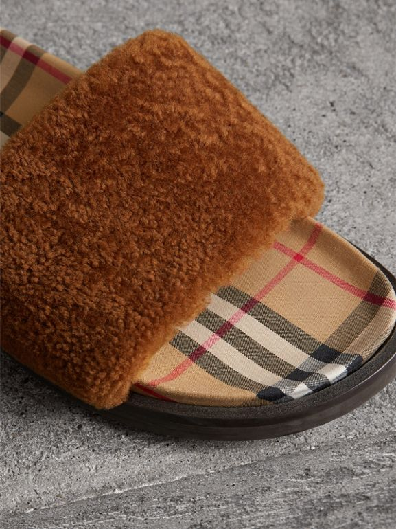 Shearling and Vintage Check Slides in Tan - Women | Burberry Australia - cell image 1