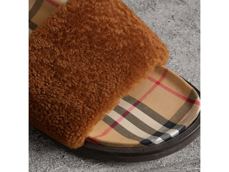 Shearling and Vintage Check Slides in Tan - Women | Burberry - cell image 1